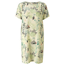 Buy Des Petits Hauts Hako Ferns Print Silk Dress, Ecru Online at johnlewis.com