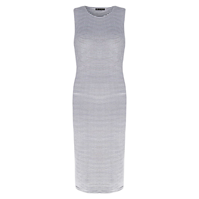 ST Studio 3D Stripe Dress, Off White/Evening Blue