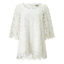 Buy Somerset by Alice Temperley Flared Sleeve Lace Top, White Online at johnlewis.com