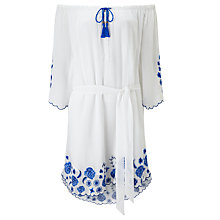 Buy Somerset by Alice Temperley Floral Embroidered Smock Dress, White Online at johnlewis.com