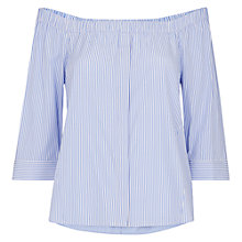 Buy Whistles Cotton Bardot Top, Blue/Multi Online at johnlewis.com