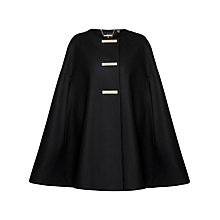 Buy Ted Baker Tuulip Triple Bar Popper Cape, Black Online at johnlewis.com