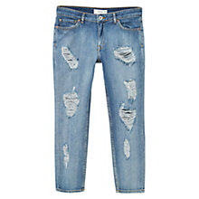 Buy Mango Relaxed Cropped Nancy Jeans, Open Blue Online at johnlewis.com