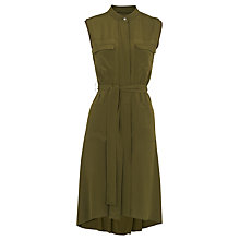 Buy Whistles Utility Silk Shirt Dress, Khaki Online at johnlewis.com