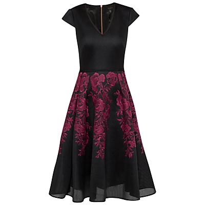 Ted Baker Levana Embroidered Mesh Full Skirt Dress, Dark Red