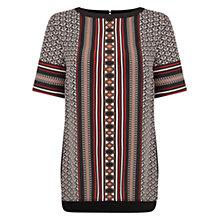 Buy Oasis Tribal Woven Front Top, Black/Multi Online at johnlewis.com