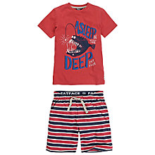 Buy Fat Face Boys' Angler Stripe Shortie Pyjamas, Red/Blue/White Online at johnlewis.com
