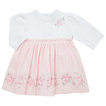 Buy Emile et Rose Baby Joele Jersey Border Print Dress, Pink/Cream Online at johnlewis.com