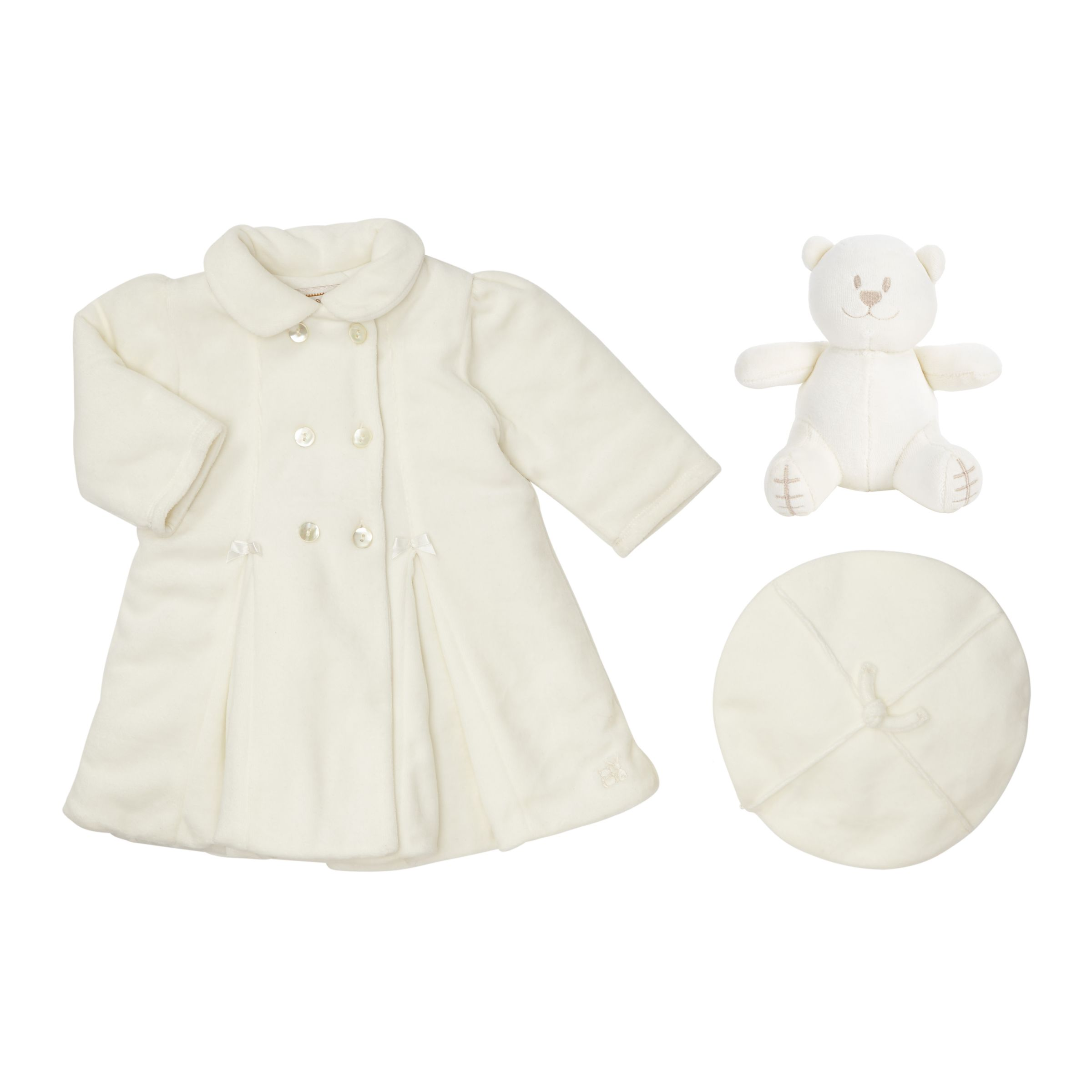Emile et Rose Emile et Rose Baby Velour Coat and Hat