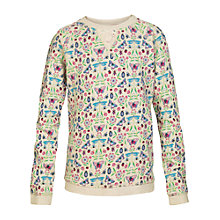 Buy Fat Face Girls' Butterfly Print Crew Sweatshirt, Cream Online at johnlewis.com
