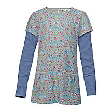 Buy Fat Face Girls' Long Sleeve Floral Print Tunic Top, Grey Marl Online at johnlewis.com