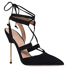 Buy Kurt Geiger Barnes Lace Up Stiletto Court Shoes, Black Suede Online at johnlewis.com