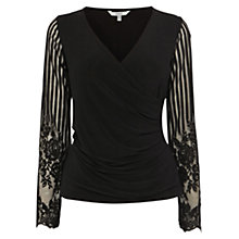 Buy Coast Darlita Lace Sleeve Wrap Top, Black Online at johnlewis.com