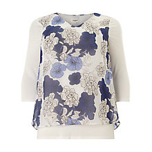 Buy Studio 8 Tula Floral Layered Top, Blue/Ivory Online at johnlewis.com