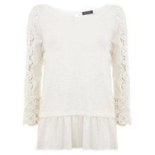Buy Mint Velvet Lace Insert Peplum Knit Top, Ivory Online at johnlewis.com