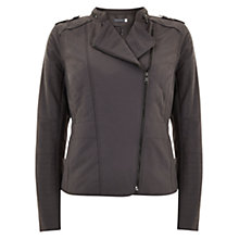 Buy Mint Velvet Quilted Biker Jacket, Grey Online at johnlewis.com