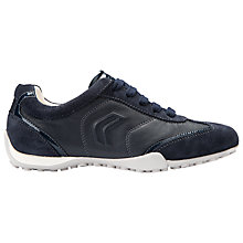 Buy Geox Snake Leather Lace Up Trainers, Navy Leather Online at johnlewis.com