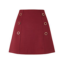 Buy Miss Selfridge Petite Button Skirt, Burgundy Online at johnlewis.com