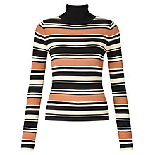 Buy Miss Selfridge Stripe Rib Jumper, Camel Online at johnlewis.com