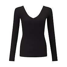Buy Miss Selfridge V Neck Rib Jumper, Black Online at johnlewis.com