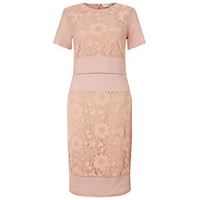 Buy Miss Selfridge Mixed Lace Panel Pencil Dress, Nude Online at johnlewis.com