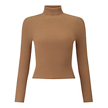 Buy Miss Selfridge Petites Rib Jumper, Camel Online at johnlewis.com