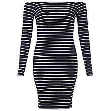 Buy Miss Selfridge Petite Ribbed Bodycon Striped Dress, Black Online at johnlewis.com