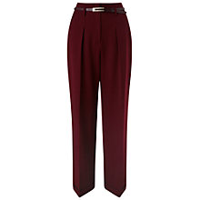 Buy Miss Selfridge High Waisted Belted Trousers, Burgundy Online at johnlewis.com