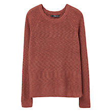 Buy Mango Stripe Textured Jumper, Dark Red Online at johnlewis.com