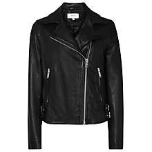 Buy Reiss Leather Caden Biker Jacket, Black Online at johnlewis.com