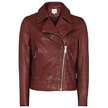 Buy Reiss Leather Caden Biker Jacket, Clay Online at johnlewis.com