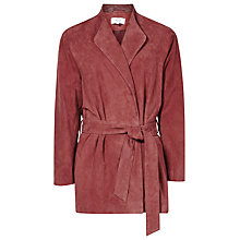 Buy Reiss Willow Suede Wrap Jacket, Clay Online at johnlewis.com