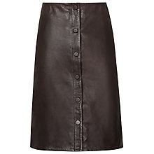 Buy Reiss Leather Penelope Button Front Skirt, Smoke Online at johnlewis.com