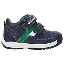 Buy Geox Children's Toledo Leather Rip-Tape Trainers, Navy/Green Online at johnlewis.com