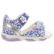 Buy Geox Children's Nicely Leather Rip-Tape Sandals, White/Lilac Online at johnlewis.com