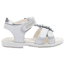Buy Geox Children's Verred Flower Sandals, White/Silver Online at johnlewis.com