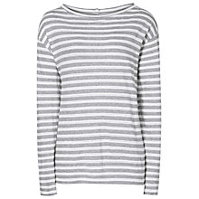 Buy Reiss Quinnine Striped Jersey Top, Grey/White Online at johnlewis.com