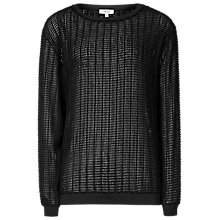 Buy Reiss Textured Jersey Jumper, Black Online at johnlewis.com