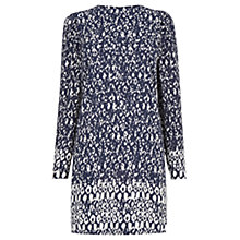 Buy Warehouse Textured Puff Shoulder Dress, Multi Online at johnlewis.com