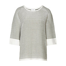 Buy Reiss Dariela Striped Ribbed Knit Top, Moss/Off White Online at johnlewis.com