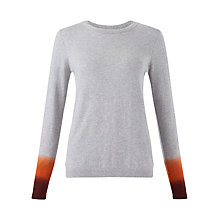 Buy Jigsaw Dip Dye Cuff Jumper, Mid Grey Online at johnlewis.com
