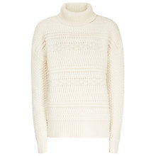 Buy Reiss Austen Chunky Roll Neck Jumper, Off White Online at johnlewis.com