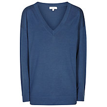 Buy Reiss Leila Trim V-Neck Jumper, Slate Online at johnlewis.com