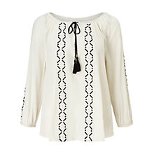 Buy Collection WEEKEND by John Lewis Lavinia Tunic Top, White/Black Online at johnlewis.com