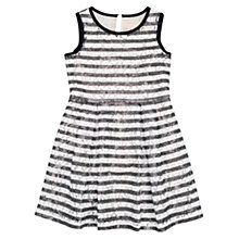 Buy Jigsaw Girls' Lace Stripe Sequin Dress, Navy Online at johnlewis.com