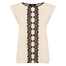 Buy Oasis Lace Trim Roll Sleeve T-Shirt, Light Neutral Online at johnlewis.com