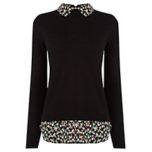 Buy Oasis Ditsy Print Tails Knit Jumper, Black/Multi Online at johnlewis.com