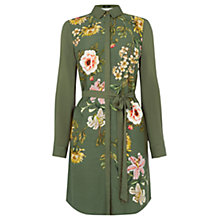 Buy Oasis Opium Floral Print Shirt Dress, Green/Multi Online at johnlewis.com