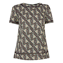 Buy Oasis Ditsy Trim T-Shirt, Black/Multi Online at johnlewis.com
