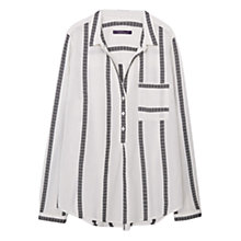 Buy Violeta by Mango Striped Cotton Blouse, Natural White Online at johnlewis.com